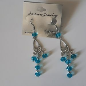 Fashion Jewelry Blue Beaded Earrings